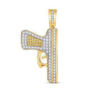 10k Yellow Gold Round Diamond Handgun Pistol Charm Pendant 5/8 Cttw