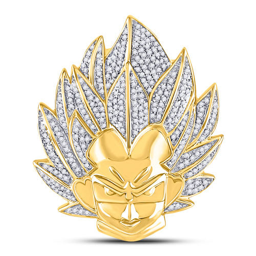 10k Yellow Gold Round Diamond Goku Dragon Ball Z Charm Pendant 3/4 Cttw
