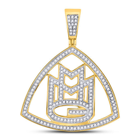 10k Yellow Gold Round Diamond Maybach Logo Charm Pendant 1/2 Cttw