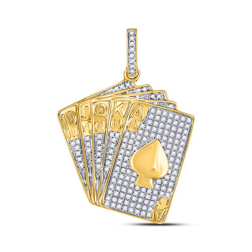 10k Yellow Gold Round Diamond Poker Royal Flush Spade Card Charm Pendant 5/8 Cttw