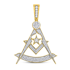 10k Yellow Gold Round Diamond Freemason Square Compass Charm Pendant 7/8 Cttw