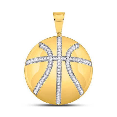 10k Yellow Gold Round Diamond Basketball Sports Charm Pendant 7/8 Cttw