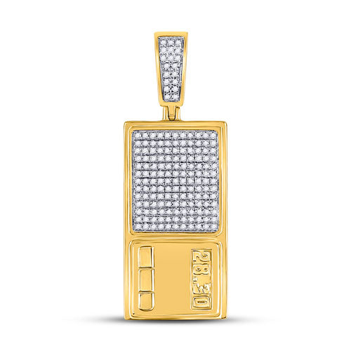10k Yellow Gold Round Diamond Digital Scales Ounce Charm Pendant 1/2 Cttw