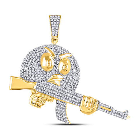 10k Yellow Gold Round Diamond Angry Bird Assault Rifle Charm Pendant 1 Cttw