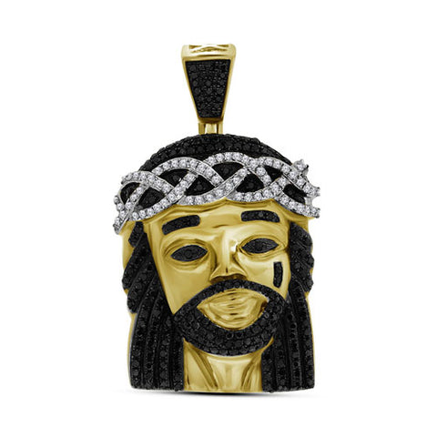 10k Yellow Gold Polished Black Diamond Jesus 3D Head Piece Charm Pendant 1 Cttw