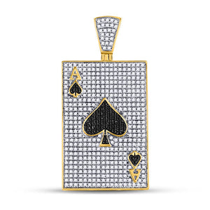 10k Yellow Gold Round Black Diamond Ace of Spades Card Charm Pendant 1-3/8 Cttw