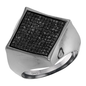 10k White Gold Round Black Diamond Square Cluster Ring 1/2 Cttw