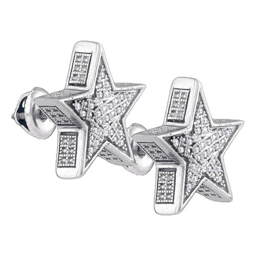 Sterling Silver Mens Round Diamond 3D Star Stud Earrings 1/8 Cttw