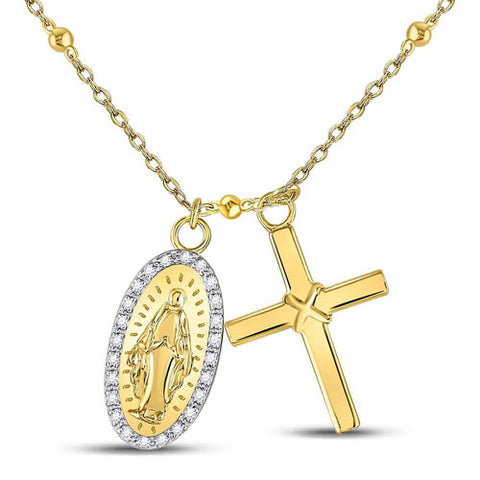 Yellow-tone Sterling Silver Round Diamond Guadalupe Cross Rosary Necklace 1/10 Cttw