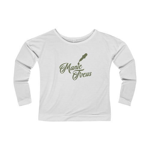 The Script Dropper 'Long Sleeve Scoopneck' In White