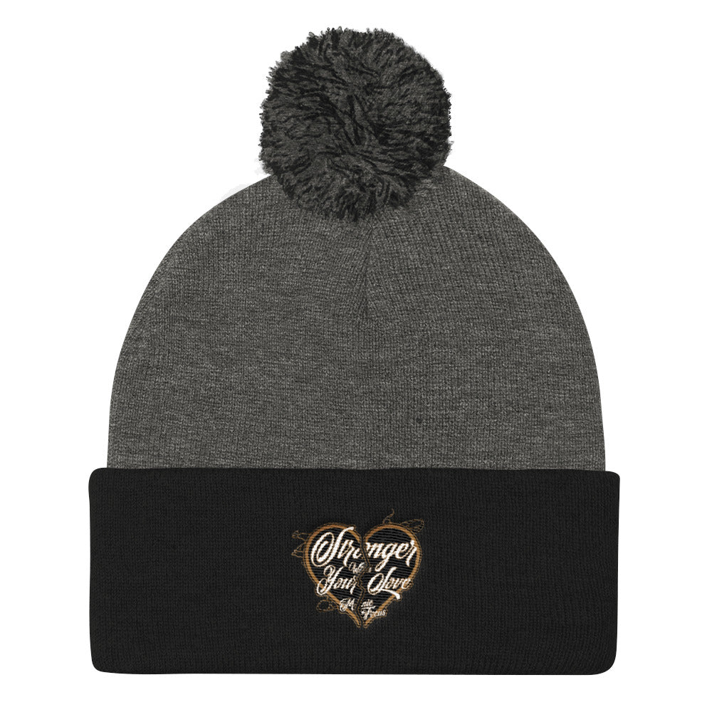 The Stronger Logo Pom Pom Beanie In Black/Grey