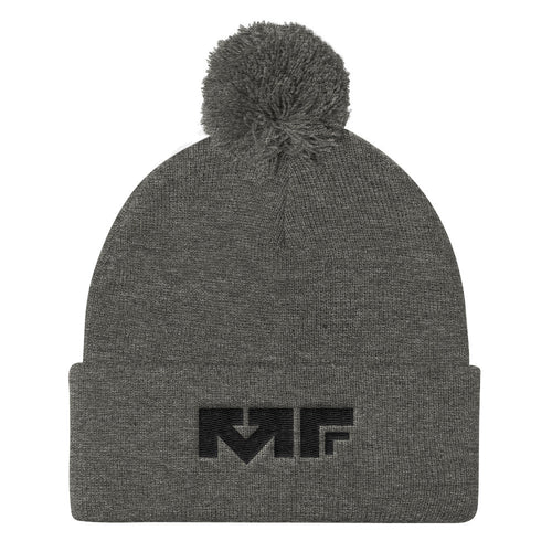 The Block Logo Pom Pom Cap In Grey