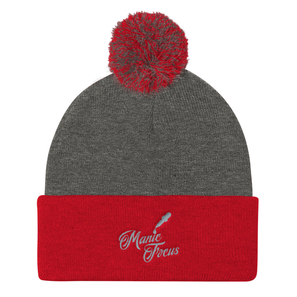 The Script Dropper Pom Pom Beanie In Grey/Red