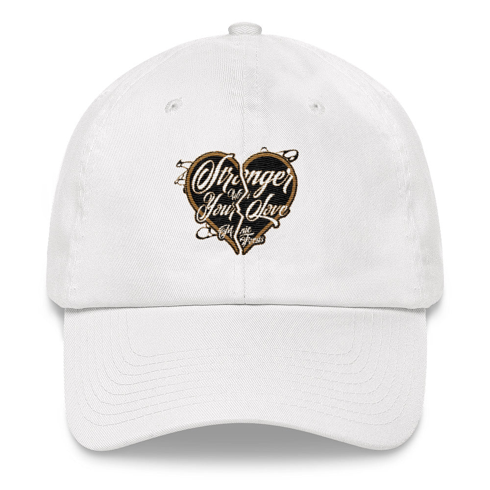 The Stronger Logo Dad hat In White