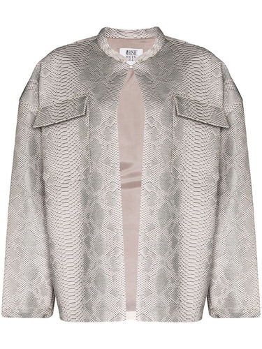 Grey Snake Print Leather Effect Jacket