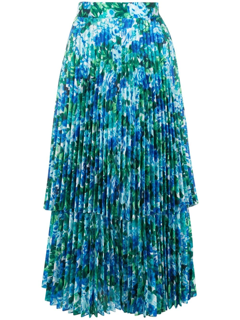 Blue Ditsy Pleated Skirt