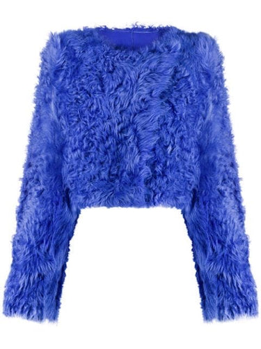 Light Blue Cropped Fur Jacket