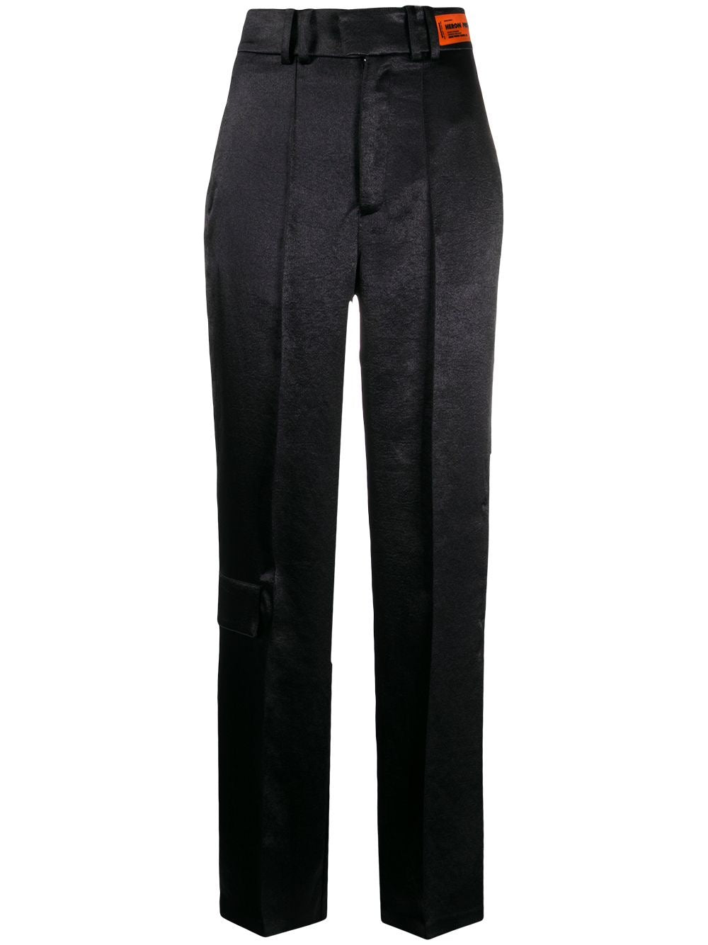 Black Straight Leg Satin Trousers