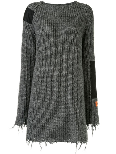 Grey Knit Patch Dress