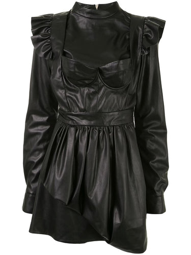 Black Faux Leather Dress with Apron