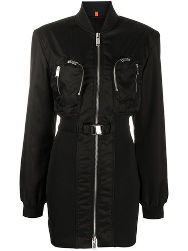Black Bomber Jacket Mini Dress