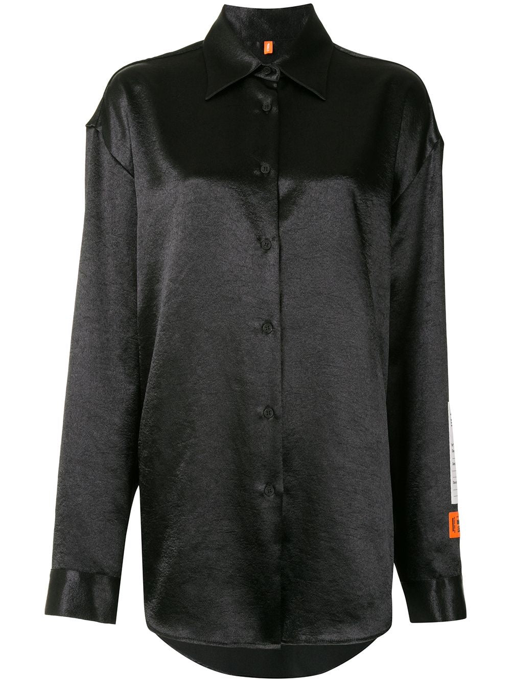 Black Logo Patched Satin Long Sleeve Top