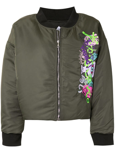 Khaki Embroidered Crop Bomber Jacket