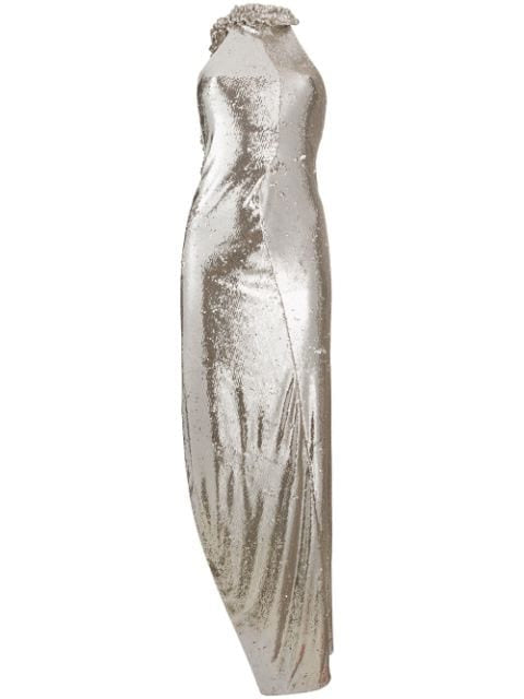 Grey Paillet Curtain Split Dress