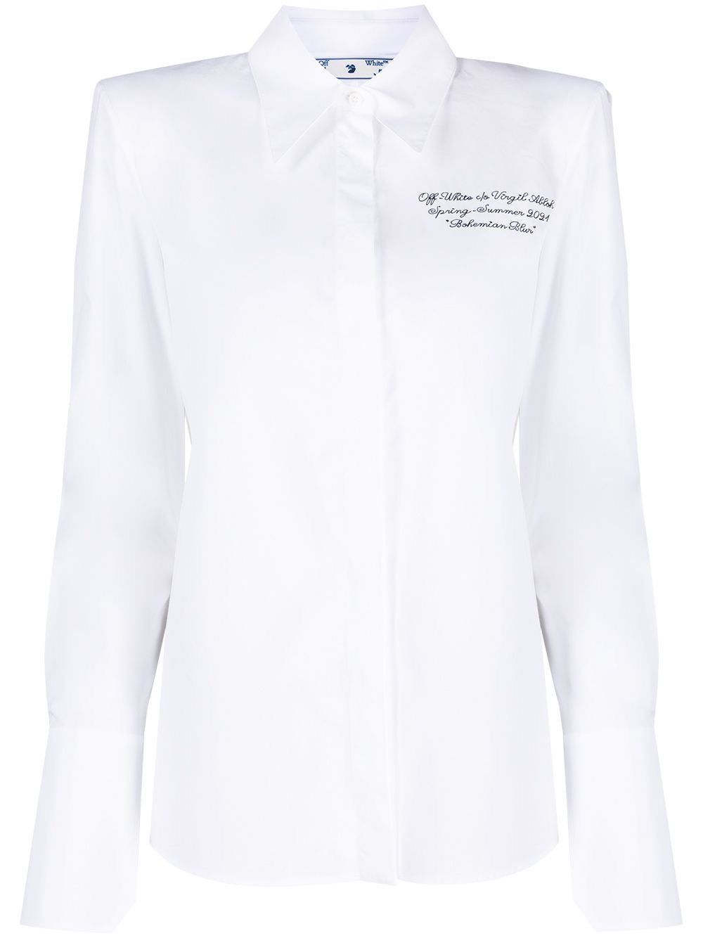 White Popeline Shoulder Logo Embroidered Top