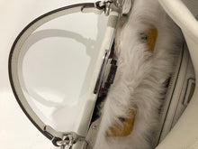 White Leather Peekaboo Monster Handbag w/ Fur Interior