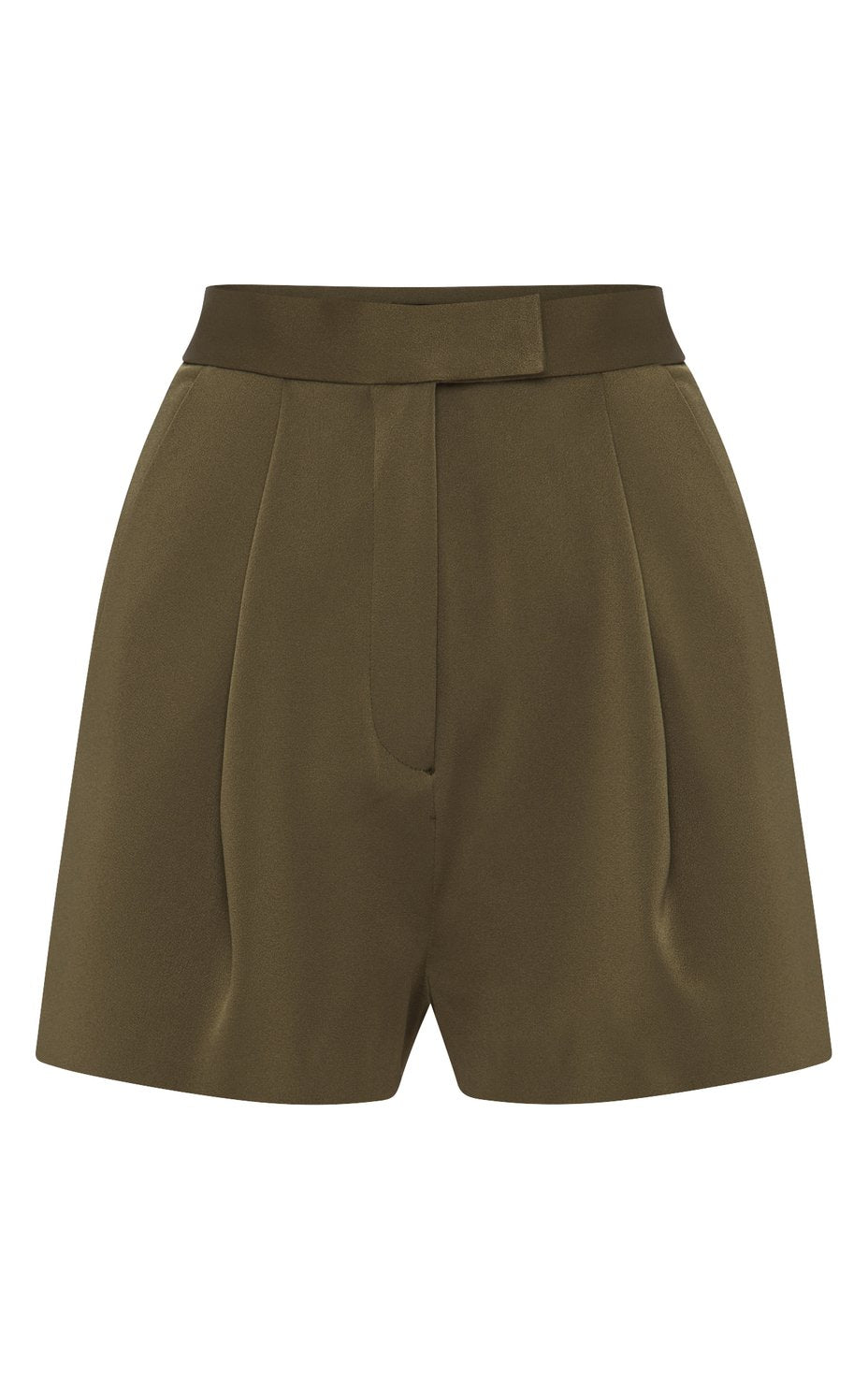 Khaki Avery Satin Crepe Shorts