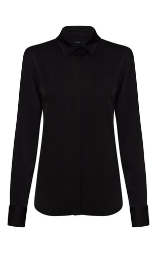 Black Kristen Satin Crepe Shirt w/ Neck Cuff