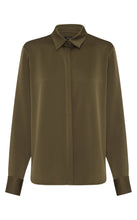 Khaki Satin Crepe Shirt w/ Neck Cuff