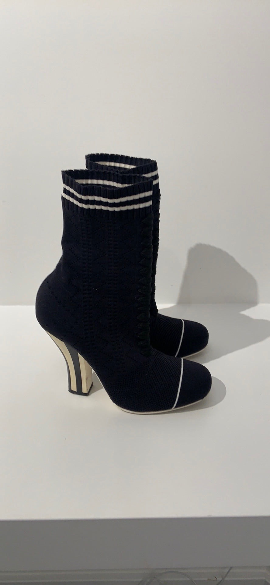 Navy Stripe Heel Knit Sock Bootie