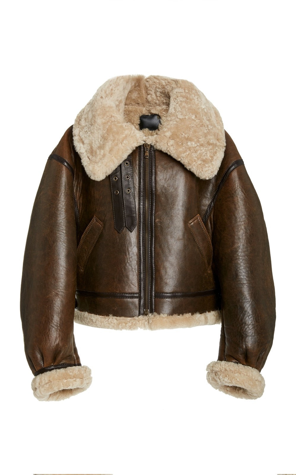 Brown Oversized Cropped Sherpa Aviator Jacket