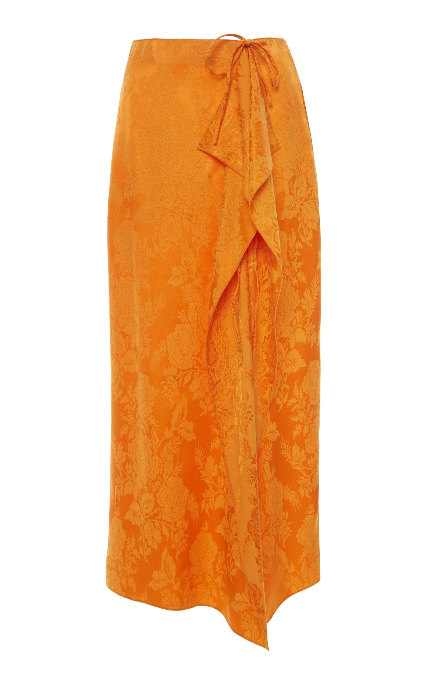 Tie-Detailed Draped Satin-Jacquard Midi Skirt