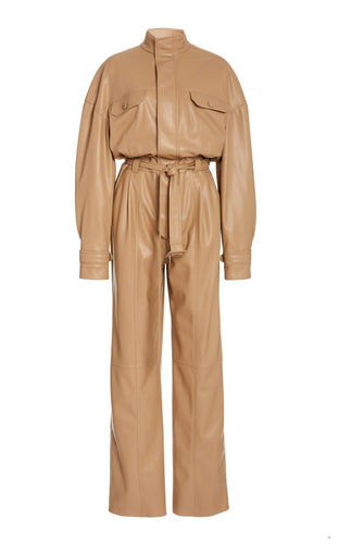 Camel Katerine Vegan Leather Jumpsuit