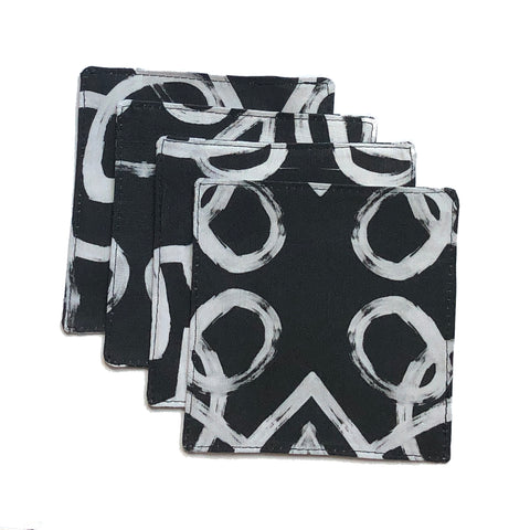 Stripe White Black Cocktail Napkin Set