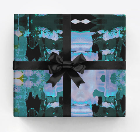 Stripe Black Cobalt Gift Wrap
