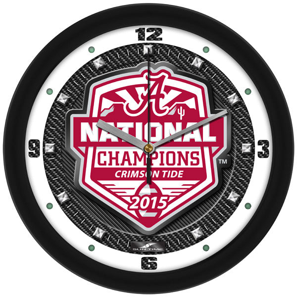 NCAA Alabama 2015 National Football Champions-Carbon Fiber Textured Wall Clock