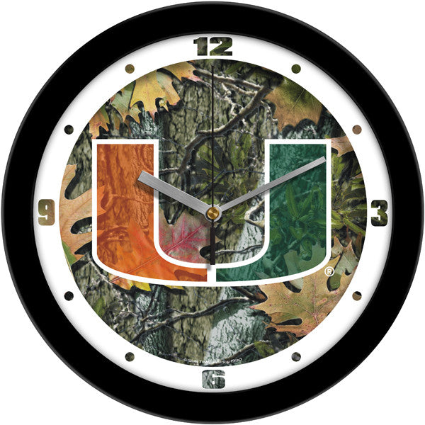 NCAA Miami Hurricanes-Camo Wall Clock
