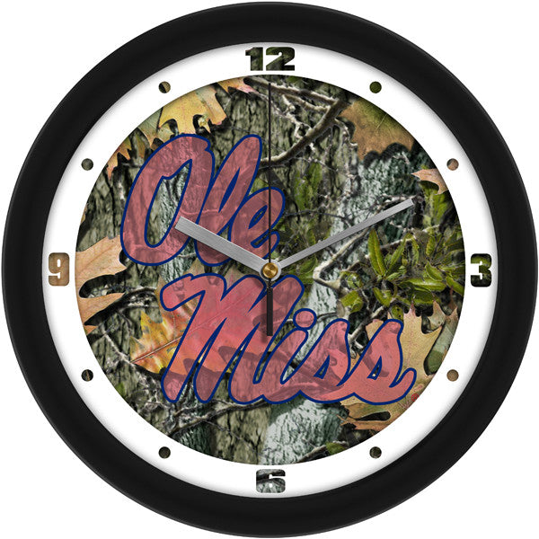 NCAA Mississippi Rebels - Ole Miss-Camo Wall Clock