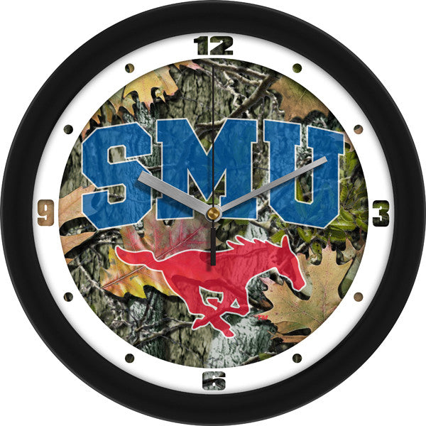 NCAA Southern Methodist University Mustangs-Camo Wall Clock