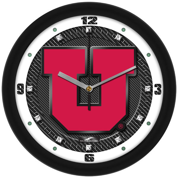 NCAA Utah Utes-Carbon Fiber Textured Wall Clock