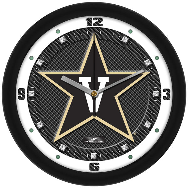 NCAA Vanderbilt Commodores-Carbon Fiber Textured Wall Clock