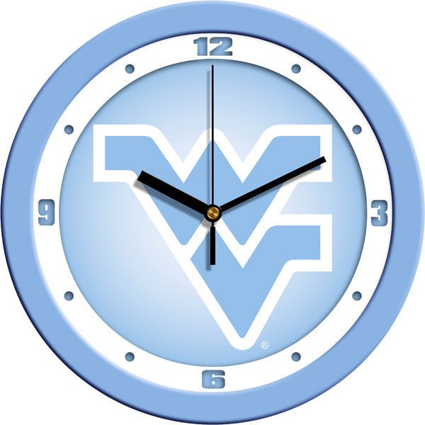 NCAA West Virginia Mountaineers-Baby Blue Wall Clock