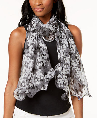 Grayscale Spring Flowers Silk Scarf