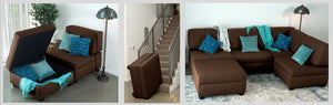 Chaise Lounge with storage, fits up stairs, modualr to create sofas, sectionals, and beds