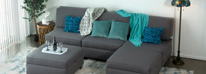 The Duobed Sectional is your ultimate modular living room or bedroom furniture solution with storage ottomans and pillows that can be arranged as a king-size bed, twin beds, sofas, chairs, chaise lounges, and love seats.