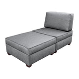 Duobeds Chaise Lounge with Storage is comfortable living room or bedroom furniture, and the storage ottomans and pillow can be easily arranged as a love seat, bed, or chair.